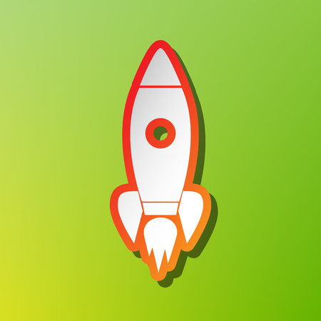 Rocket sign illustration. Contrast icon with reddish stroke on green backgound.