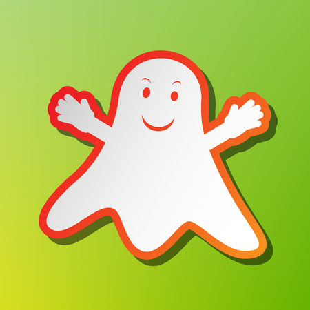 Ghost isolated sign. Contrast icon with reddish stroke on green backgound. Illustration