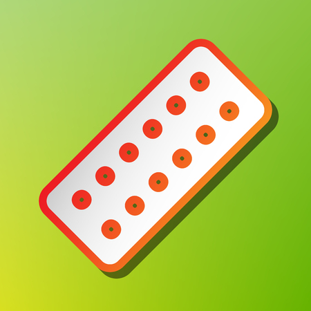 Medical Pills sign. Contrast icon with reddish stroke on green backgound. Illustration