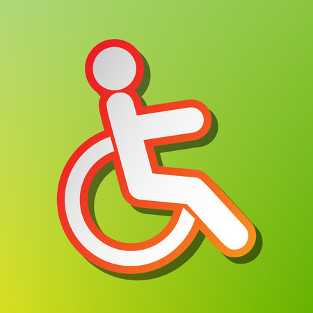 Disabled sign illustration. Contrast icon with reddish stroke on green backgound.