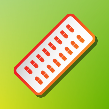 heartache: Medical Pills sign. Contrast icon with reddish stroke on green backgound. Illustration