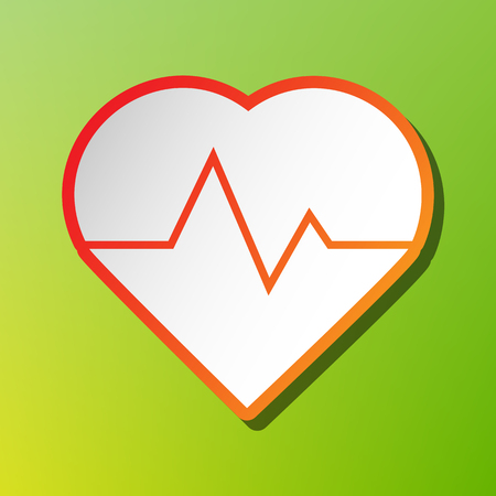 Heartbeat sign illustration. Contrast icon with reddish stroke on green backgound.