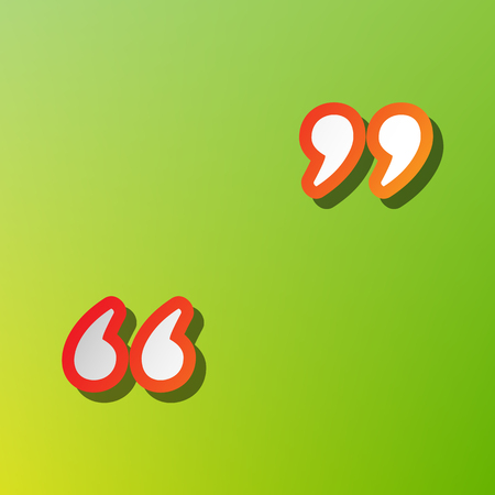 Quote sign illustration. Contrast icon with reddish stroke on green backgound.