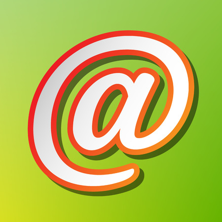 Mail sign illustration. Contrast icon with reddish stroke on green backgound.