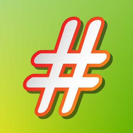 Hashtag sign illustration. Contrast icon with reddish stroke on green backgound.
