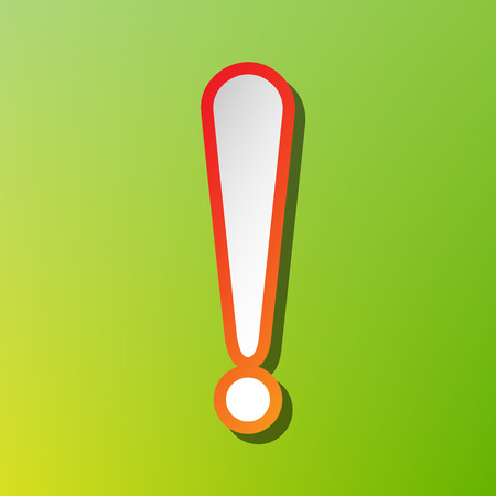 Attention sign illustration. Contrast icon with reddish stroke on green backgound.