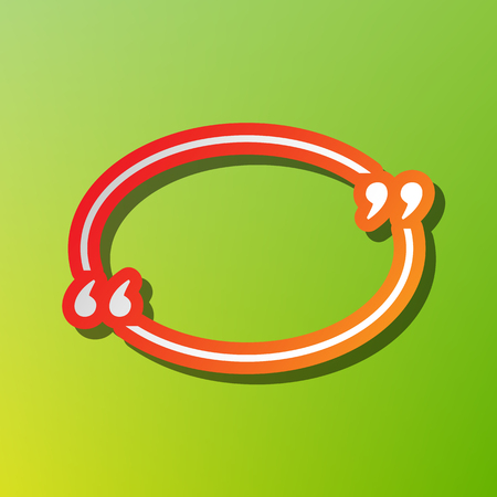 Text quote sign. Contrast icon with reddish stroke on green backgound. Illustration