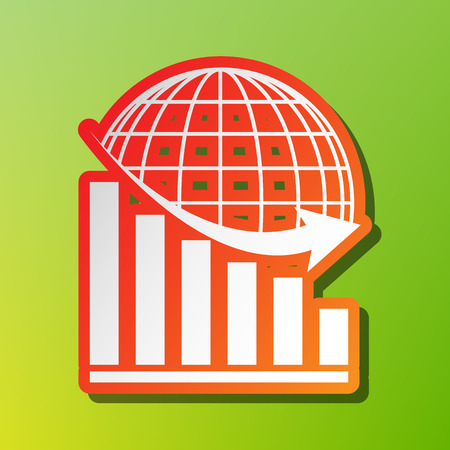 declining: Declining graph with earth. Contrast icon with reddish stroke on green backgound. Illustration