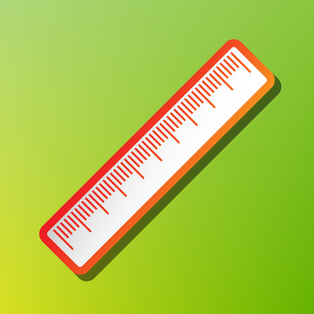 centimeter: Centimeter ruler sign. Contrast icon with reddish stroke on green backgound.
