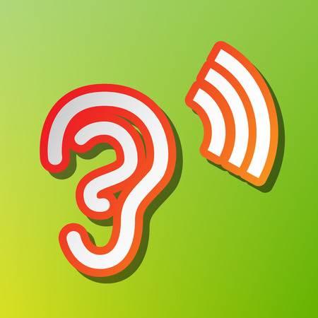 audition: Human ear sign. Contrast icon with reddish stroke on green backgound.