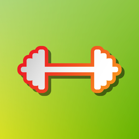 Dumbbell weights sign. Contrast icon with reddish stroke on green backgound.