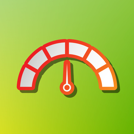 Speedometer sign illustration. Contrast icon with reddish stroke on green backgound. Illustration