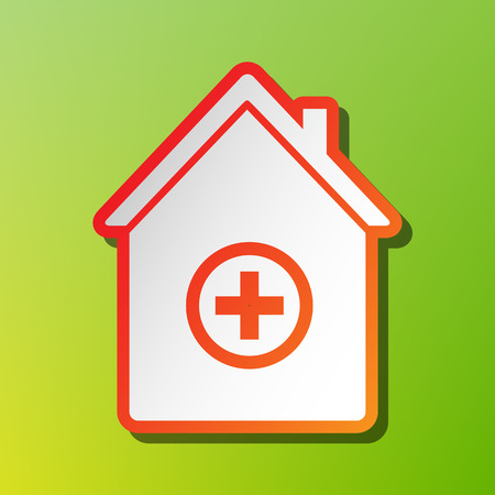 Hospital sign illustration. Contrast icon with reddish stroke on green backgound.