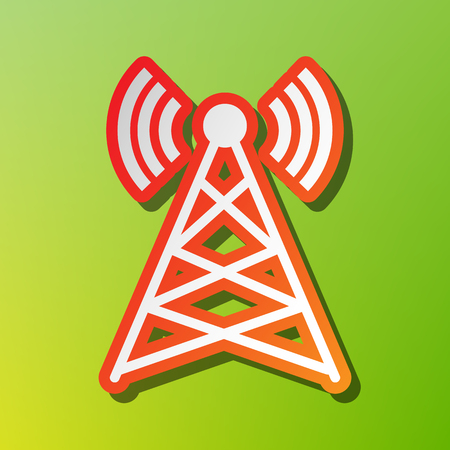 tv tower: Antenna sign illustration. Contrast icon with reddish stroke on green backgound. Illustration