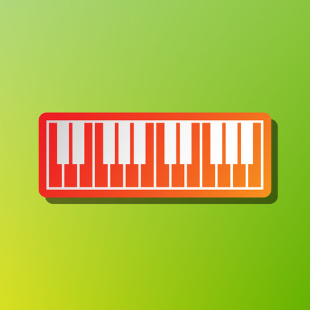 clavier: Piano Keyboard sign. Contrast icon with reddish stroke on green backgound. Illustration