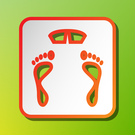 Bathroom scale sign. Contrast icon with reddish stroke on green backgound.