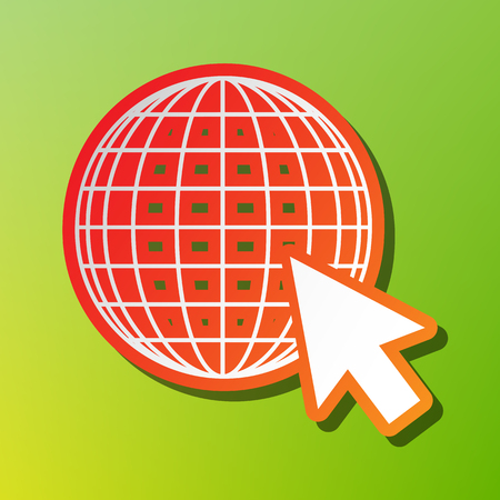 Earth Globe with cursor. Contrast icon with reddish stroke on green backgound.