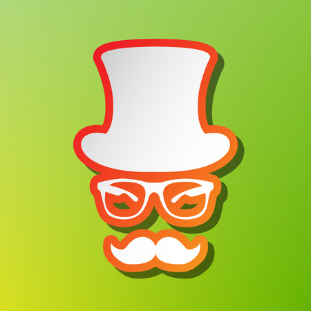 Hipster accessories design. Contrast icon with reddish stroke on green backgound. Illustration