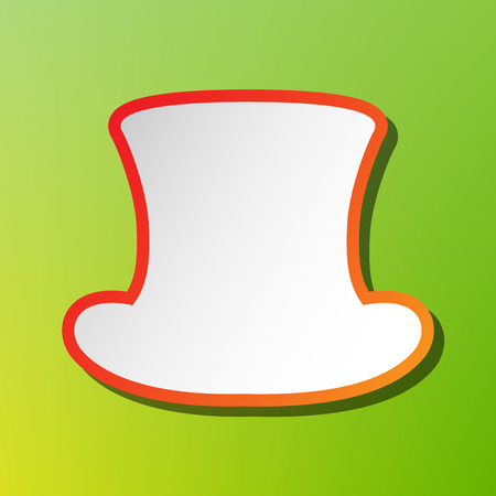 Top hat sign. Contrast icon with reddish stroke on green backgound.
