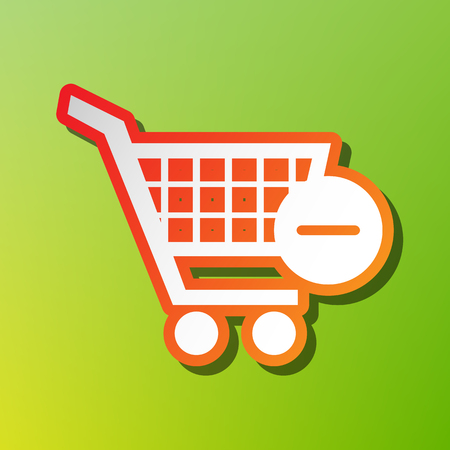 Vector Shopping Cart with Remove sign. Contrast icon with reddish stroke on green backgound.