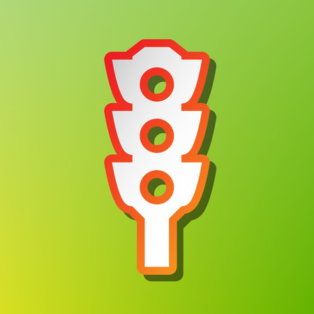 stop and go light: Traffic light sign. Contrast icon with reddish stroke on green backgound.