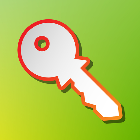 tool unlock: Key sign illustration. Contrast icon with reddish stroke on green backgound. Illustration