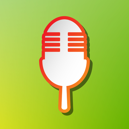 Retro microphone sign. Contrast icon with reddish stroke on green backgound.