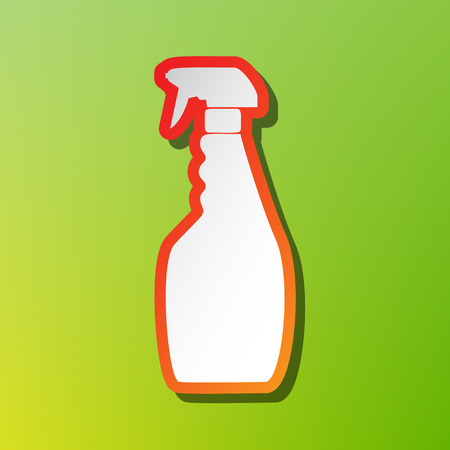 Plastic bottle for cleaning. Contrast icon with reddish stroke on green backgound.
