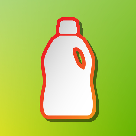 cleanse: Plastic bottle for cleaning. Contrast icon with reddish stroke on green backgound.