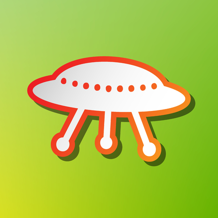 UFO simple sign. Contrast icon with reddish stroke on green backgound. Illustration