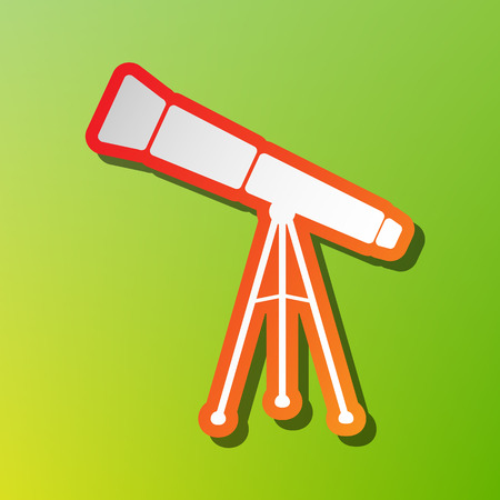 Telescope simple sign. Contrast icon with reddish stroke on green backgound. Illustration