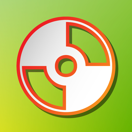 Vector CD or DVD sign. Contrast icon with reddish stroke on green backgound. Illustration