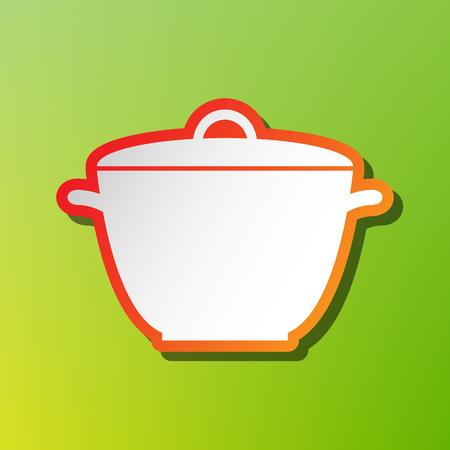 Saucepan simple sign. Contrast icon with reddish stroke on green backgound. Illustration