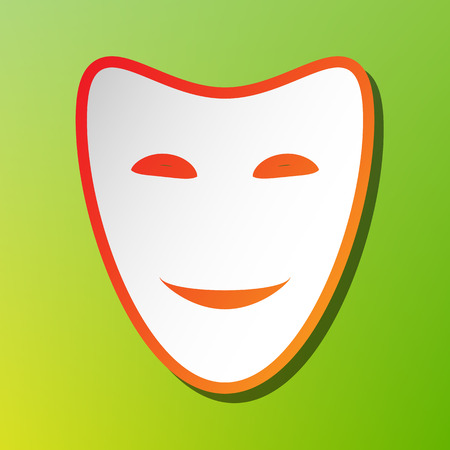 Comedy theatrical masks. Contrast icon with reddish stroke on green backgound.