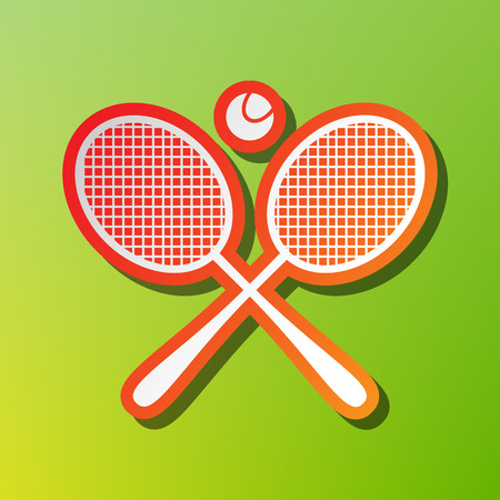 Tennis racket sign. Contrast icon with reddish stroke on green backgound. Illustration