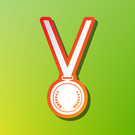 Medal simple sign. Contrast icon with reddish stroke on green backgound.