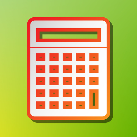 calculating: Calculator simple sign. Contrast icon with reddish stroke on green backgound.
