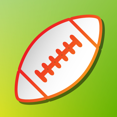 American simple football ball. Contrast icon with reddish stroke on green backgound.