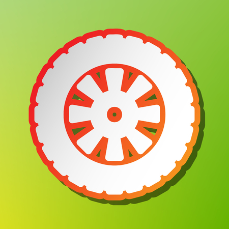 Road tire sign. Contrast icon with reddish stroke on green backgound. Illustration