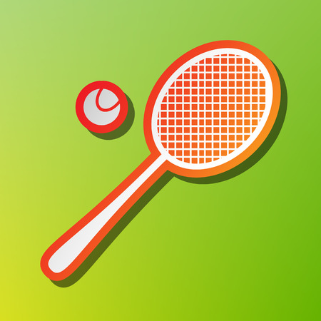 tennis racquet: Tennis racquet sign. Contrast icon with reddish stroke on green backgound.