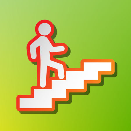 going green: Man on Stairs going up. Contrast icon with reddish stroke on green backgound.