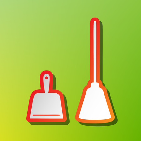 whisk broom: Dustpan vector sign. Scoop for cleaning garbage housework dustpan equipment. Contrast icon with reddish stroke on green backgound.