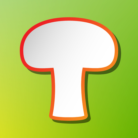 Mushroom simple sign. Contrast icon with reddish stroke on green backgound.
