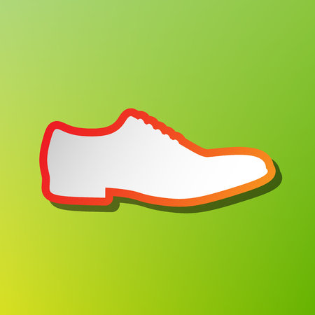 foot gear: Men Shoes sign. Contrast icon with reddish stroke on green backgound.