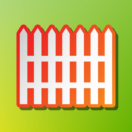 Fence simple sign. Contrast icon with reddish stroke on green backgound.