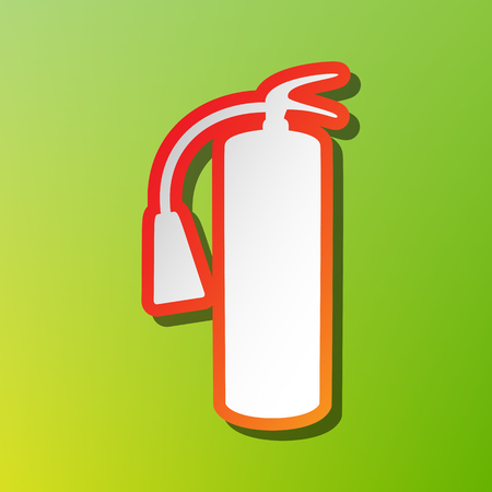 Fire extinguisher sign. Contrast icon with reddish stroke on green backgound. Illustration