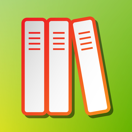 regulate: Row of binders, office folders icon. Contrast icon with reddish stroke on green backgound.