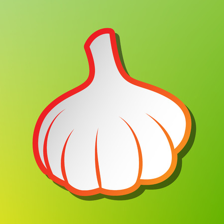 Garlic simple sign. Contrast icon with reddish stroke on green backgound.