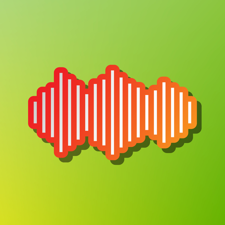 Sound waves icon. Contrast icon with reddish stroke on green backgound.