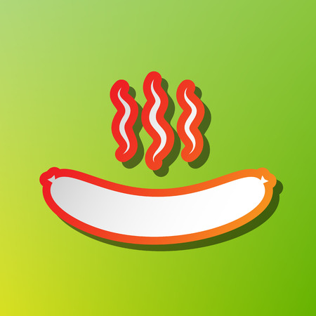 Sausage simple sign. Contrast icon with reddish stroke on green backgound.